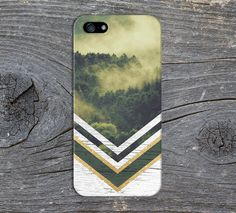Green Forest Fog x Gold Glitter x White Wood Phone Case for iPhone and Samsung