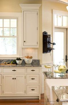 Kitchen scheme....love how the yellow/off white makes the white cabinets stand out without being stark. Kitchen Cabinets Decor, Kitchen Cabinet Remodel, Kitchen Cabinet Design, Wood Cabinets, Cupboards, Kitchen Dining, Kitchen Wall Colors, Kitchen Cupboard Colours, Yellow Kitchen Walls