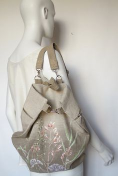 linen backpack with floral image by olyiri on Etsy