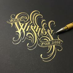 """Gorgeous gold hand lettering """"Best wishes for Calligraphy Letters, Typography Letters, Typography Logo, Vintage Typography, Hand Drawn Type, Hand Type, Types Of Lettering, Lettering Design, Graphisches Design"""