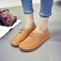 $15.07 Hot-sale Bullock Lace Up British Style Pure Color Casual Flat Shoes - NewChic