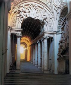 The Regia Scala, or Royal Stairs, designed by Bernini and rebuilt between 1663 and 1666 to replace a narrow twisting staircase between the Apostolic Palace and St Peter's Basilica. Neoclassical Architecture, Baroque Architecture, Architecture Details, Apostolic Palace, Bernini Sculpture, Cathedral Architecture, Gian Lorenzo Bernini, Italian Lighting, European Paintings