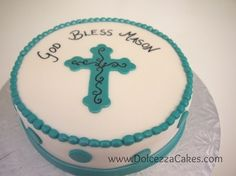 Teal cross baptism/christening cake. Simple and clean. www.DolcezzaCakes.com