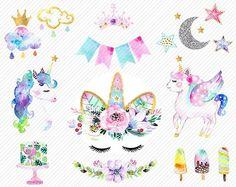 watercolor Unicorn Clipart. Unicorn Printable. Baby Shower Kids Party clipart. rainbow, clipart illustration.diy baby birthday invite.