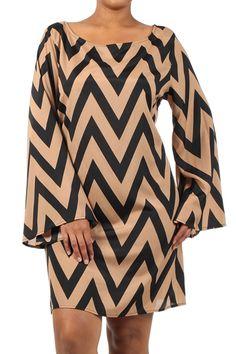 Taupe Chevron Dress