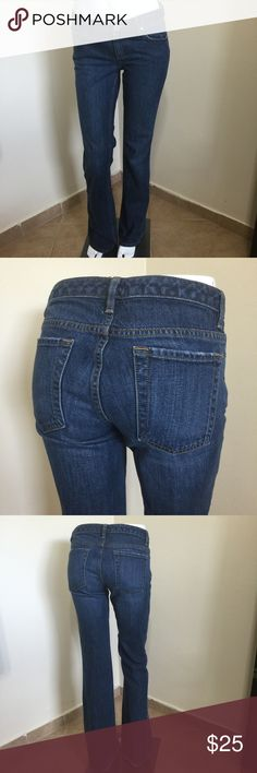 Banana Republic Boot Cut Stretch Jeans Size 0 L32 Label- Banana Republic Style- Contoured Boot Cut, Sits higher on the waist and has a fuller back, an older style cut before skinnies came in. Has a more adult fit.  Size-0 Runs big Fits more like a 2. Shown on 2 mannequin. Higher back- Fits a bigger booty.  Measurements- W-30 Hip-36 Rise- 8 Leg opening- 10 Length- 32 Color-Medium Blue Fabric-98% Cotton, 2% Lastol Condition-Very lightly worn, tiny bit fray on hem and one one back pocket…