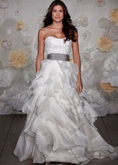 """THE Jim Hjelm """"Platinum"""" sash that inspired the color palette.  If you don't like the color for your bridesmaid dresses, take it up with Mr. Hjelm.  :)"""