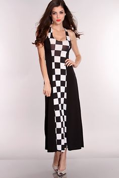Whether entering or leaving a room, this maxi dress will make you the most memorable person at your next event. Style features a scoop neckline, sleeveless, criss cross opened back, checker print and nice fitted for those sexy curves of yours! 95% Polyester 5% Spandex