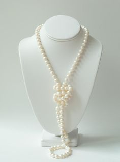 Long real pearl necklace
