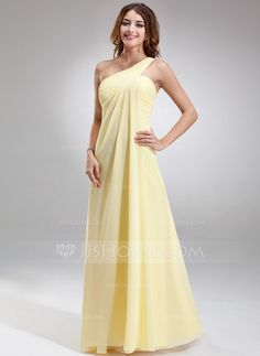 Bridesmaid Dresses - $97.49 - Empire One-Shoulder Floor-Length Chiffon Bridesmaid Dress With Ruffle (007025146) http://jjshouse.com/Empire-One-Shoulder-Floor-Length-Chiffon-Bridesmaid-Dress-With-Ruffle-007025146-g25146