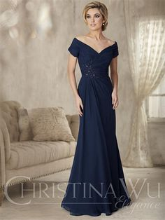 Christina Wu Elegance 17826  A classic silhouette, this portrait collar flatters the neckline with a gathered bodice and off-the-shoulder short sleeve in chiffon. The bodice features a beaded lace appliqu�, and the skirt is an A-line with a pleated drape front.   #wedding #longdress #formal #azaria #azariabridal #event #celebration #dress #love #fashion #elegance #mother #bride #casual #evening