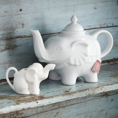 Elephant Tea Pot and Baby Elephant Creamer