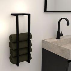 Handdoekhouder Combi 58.9x14.9cm Mat Zwart Towel Racks, Radiators, Sconces, Wall Lights, Bathroom, Home Decor, Shower, Washroom, Chandeliers
