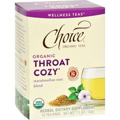 Choice Organic Teas - Organic Throat Cozy Tea - 16 Bags - Case of 6 - Support throat comfort with this cooling brew that combines trusted elements of traditional Egyptian and Chinese herbal formulas.* Smooth slippery marshmallow root coats and caresses while sweet licorice root cools and soothes.* Anise Europes most popular herb to calm the occasional cough* lends an irresistible licorice flavor. Its a slightly sweet velvety blend sure to please and ease your throat.**These statements have…