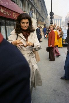 Jackie out and about in Paris....Oh, The Stylish Jackie Loved Her Trenchcoats...Such Grace & Style...Miss Her On This Earth!!