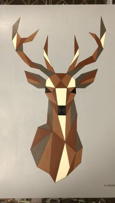 Geometric deer - acrylic painting