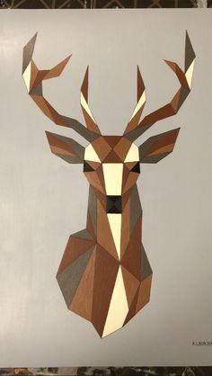 Geometric deer - acrylic painting