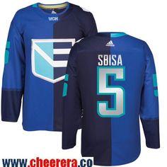 Men's Europe Hockey #5 Luca SBISA Adidas Royal World Cup Of Hockey 2016 Premier Player Jersey