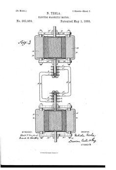 Nikola Tesla - Electro Magnetic Motor - No. 381,969 - May 1, 1888.