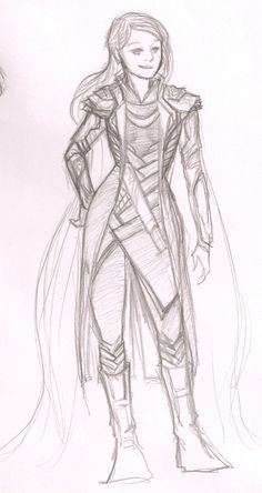 """A nicely done sketch of Loki's outfit to fit a girl. I would fix the """"duck bill"""" shoes however. #Loki #Cosplay #Asgardian"""