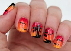 Magnificient Fall Beach Nails Designs - Beach the. Beach Nail Art, Beach Nail Designs, Simple Nail Art Designs, French Nails, Sunset Nails, Palm Tree Nails, Painted Nail Art, Nail Art Pen, Nail Decorations