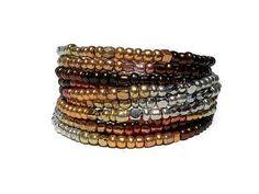 Bronze Beaded Wrap Bracelet Memory Wire Bracelet Seed Bead Stacking Bracelets Bohemian Jewelry