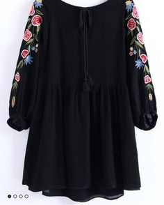 SheIn offers Black Flower Embroidery Tassel Tie Dress & more to fit your fashionable needs. Tie Dress, Warm Weather, Dresses Online, Tassels, Bell Sleeve Top, Tunic Tops, Chic, Stylish, Blouse