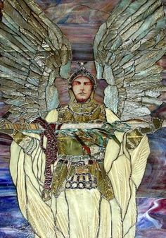 Theater stained glass window - magnificent antique stained glass window, dating to the late 19th or early 20th Century. The window, showing Archangel Michael presenting his sword - was originally displayed in a Chicago area theater, one that was demolished sometime in the 1980s or 90s.