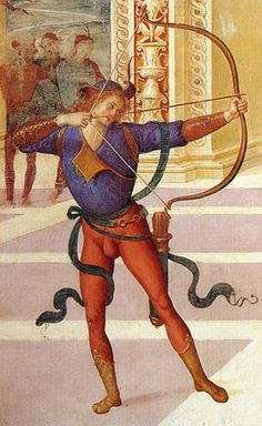 A bow for the Perugino: all smoke and no fire Medieval Archer, High Middle Ages, High Renaissance, Archery Equipment, Longbow, Bow Arrows, Arm Armor, Italian Painters, Old Paintings