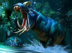 Defiant Greatmaw, Alexander Deruchenko -- Share via Artstation iOS App, Artstation © Mythical Creatures Art, Alien Creatures, Mythological Creatures, Magical Creatures, Fantasy Monster, Monster Art, Creature Drawings, Animal Drawings, Creature Feature