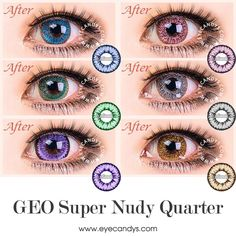 Featuring light, opulent colors in a finely detailed scattering pattern, the Super Nudy circle lenses (colored contact lens) accentuate your natural beauty while providing an amazing eye-widening effect. Make your eyes your best accessory! Cosmetic Contact Lenses, Eye Contact Lenses, Pretty Eyes, Cool Eyes, Change Your Eye Color, Colored Eye Contacts, Halloween Contacts, Kawaii Makeup, Circle Lenses
