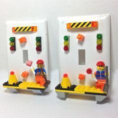 Road Warriors Light Switchplates made with LEGO by BrickShtick on Zibbet Lego Bedroom Decor, Boys Room Decor, Boy Room, Kids Room, Bedroom Ideas, Legos, Lego Lego, Lego Road, Lego Bathroom
