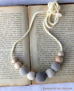 teething necklace, grey $18