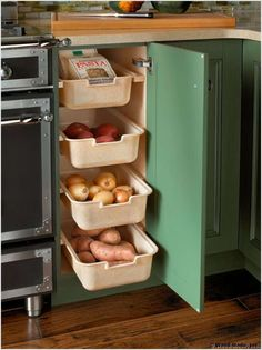 Create a Veggie Pantry in Pull Out Bins Inside a Cabinet