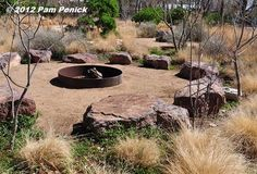 "For a dry garden without lawn, how about a steel firepit surrounded by a council ring of boulders for seating, decomposed-granite ""patio,"" and ornamental grasses and small trees?"
