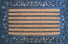"""18x30 Scrolled Edge Mat by FIBERWONDERS-IMPORT. $18.83. Palm Fibre #PLM 10757 18x30 Scrolled Edge Mat. PALM FIBRE PRIVATE LIMITED. 18"""" x 30"""", Scrolled Edge Door Mat, Vinyl Backed, Coir Rows In Center, Scrolled Edge Of Rubber."""
