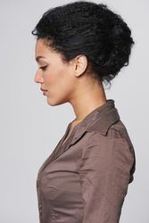 Closeup profile portrait of beautiful african american business woman