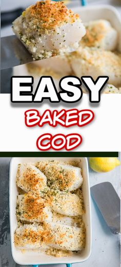 Baked cod is flakey AND flavorful and so easy to make! Add this baked fish recipe to your dinner rotation. This is a seafood dish that everyone will love! Cod Recipes Oven, Cod Fish Recipes, Seafood Recipes, Baking Recipes, Dinner Recipes, Dinner Ideas, Lemon Recipes, Meal Ideas, Yummy Recipes