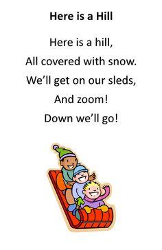 Itty Bitty Rhyme: Here is a Hill Preschool Programs, Preschool Songs, Preschool Printables, Baby Storytime, Circle Time Songs, Winter Songs, Children Songs, Rhymes Songs, Pediatric Ot