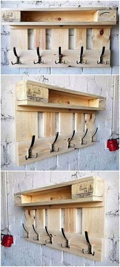 Suzi Wood Working 20 Easy Wood Pallet Ideas for Your Home, 20 Easy Wood Pallet Ideas for Your Home repurposed pallet hanger idea Home decor. Wooden Pallet Projects, Wood Pallet Furniture, Pallet Crafts, Woodworking Projects Diy, Wooden Pallets, Diy Furniture, Woodworking Plans, Pallet Wood, Furniture Projects