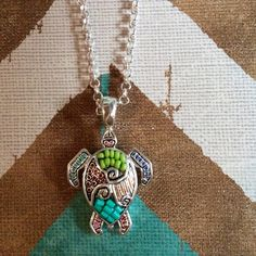 """MOSAIC TURTLE NECKLACE AND EARRINGS 18"""" chain with 1"""" extender. Enamel. Seed beads. 1.75"""" turtle pendant. 3/8"""" post style earrings. Lead compliant. No modeling. No trades. Jewelry Necklaces"""