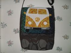 VW Camper Van Messenger Bag-Yellow on Blue and by mibolsa on Etsy
