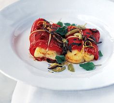 Halloumi Wrapped in Red Pepper with Lemon & Chilli - love how they look like presents! - http://greek.food.com/recipe/bbq-halloumi-wrapped-in-red-pepper-with-lemon-chilli-428417