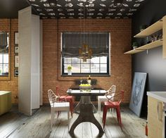 Minimalist and simple dining room design with brick wall... | Visit : roohome.com  #diningroom #decoration #amazing #awesome #gorgeous #great #interior #creative #elegant #minimalist