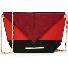 Roland Mouret Suede Shoulder Bag (£850) ❤ liked on Polyvore featuring bags, handbags, shoulder bags, multicolor, chain shoulder bag, chain strap purse, foldover handbags, red evening purse and red handbags
