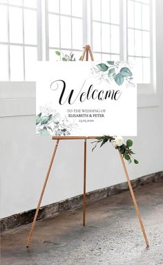 Beautiful Green Wedding Welcome Sign with fine Calligraphy for your perfect wedding day - Floral Green Wedding Welcome Sign Welcome Sign Wedding Green Save The Date Wedding, Welcome To Our Wedding, Wedding Signage, Rustic Wedding, Wedding Ceremony, Wedding Programs, Wedding Greenery, Wedding Fans, Wedding Stuff