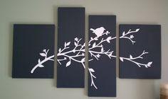 multi-canvas bird & branch silhouette