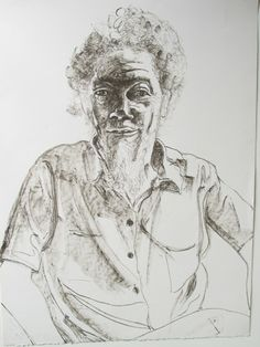 Modified contour drawing with value added later.  Alice Neel - Benny Andrews |