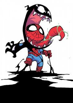 Venomized by Skottie Young : comicbooks Chibi Marvel, Marvel Art, Marvel Heroes, Marvel Avengers, Skottie Young, Spiderman Art, Amazing Spiderman, Venom Spiderman, Marvel Venom