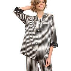 b533ea61a5 2019 New 22 Momme Striped Silk Pajama Set With Lace Trim Silk Sleepwear